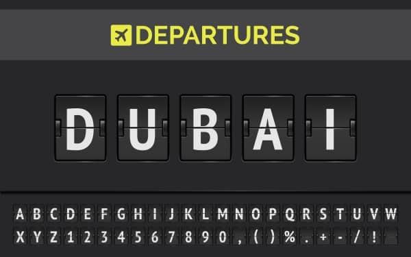 Affichage aéroport pour Dubaï