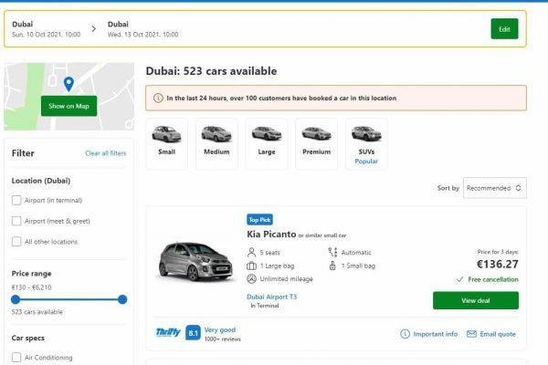 Comparateur de location de voiture rentalcars
